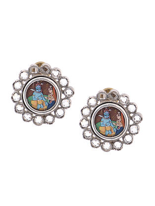 Silver Crystal Earrings with Hand-painted Deity Motif
