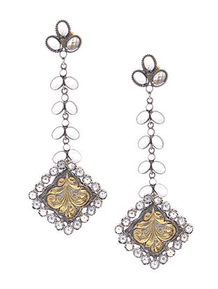 Dual Tone Crystal Silver Earrings with Floral Motif