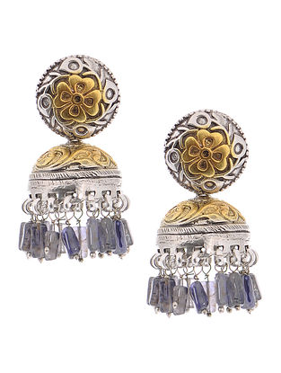 Purple Dual Tone Silver Jhumkis with Floral Motif