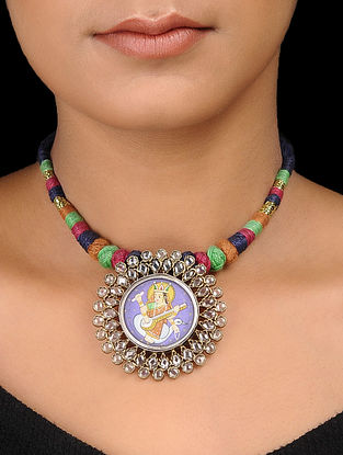 Multicolor Thread Silver Necklace with Hand-painted Deity Motif