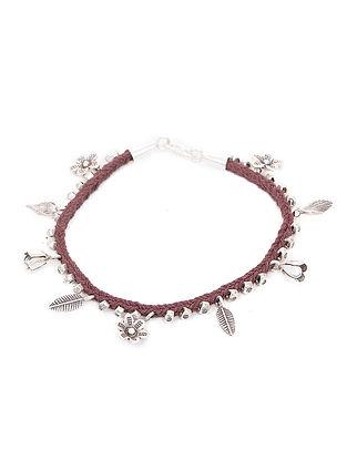 Brown Thread Silver Bracelet