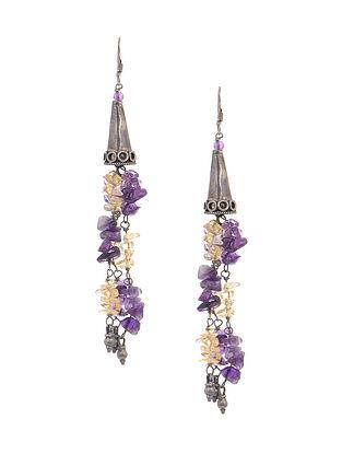 Purple-Yellow Tribal Silver Earrings