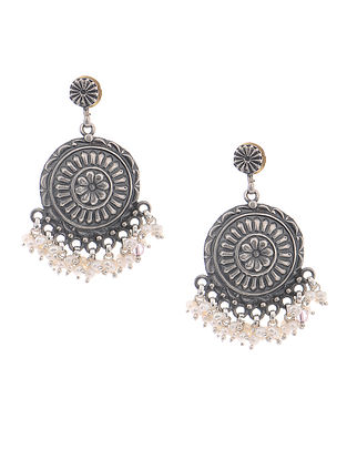 Pearl Tribal Silver Earrings with Floral Motif