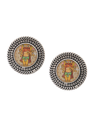 Multicolored Tribal Silver Earrings with Hand-painted Lord Ganesha Motif
