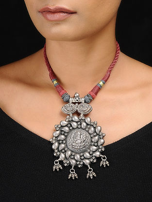 Pink-Grey Thread Tribal Silver Necklace with Lord Ganesha Motif