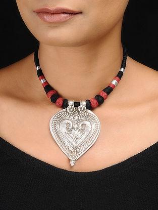 Black-Orange Thread Tribal Silver Necklace