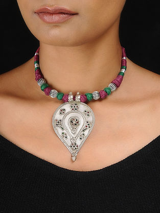 Pink-Green Thread Tribal Silver Necklace