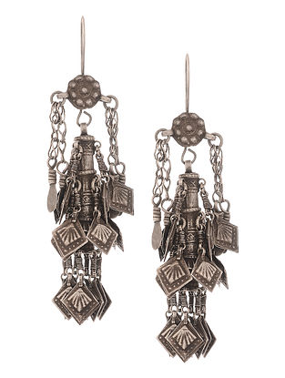 Vintage Tribal Silver Earrings