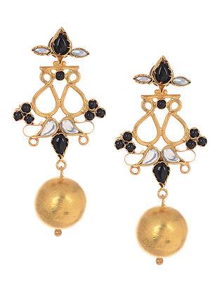 Black Gold Tone Silver Earrings