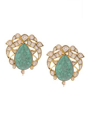Turquoise Kundan Inspired Gold Tone Silver Earrings