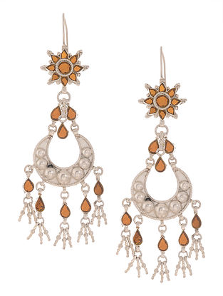 Orange Glass Silver Earrings
