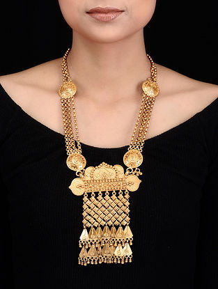 Gold Tone Tribal Silver Necklace