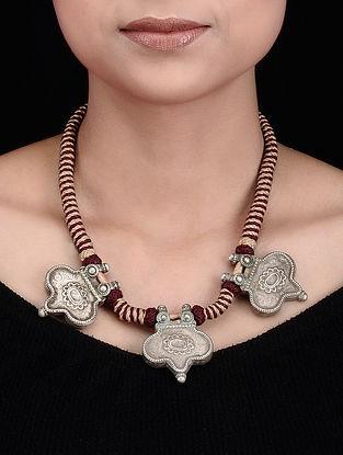 Maroon-Beige Thread Vintage Tribal Silver Necklace