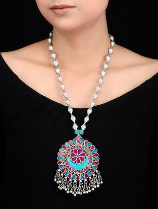 Pink-Blue Glass Dholki Beaded Silver Necklace