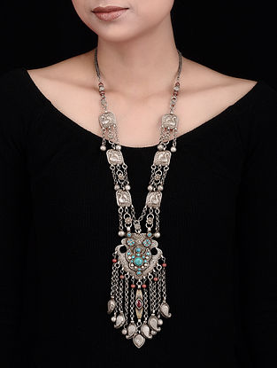Turquoise-Red Tribal Silver Necklace