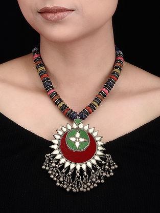 Multicolored Thread Glass Tribal Silver Necklace