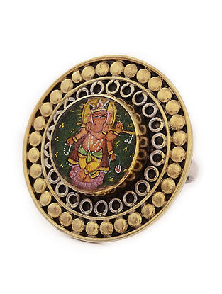 Dual Tone Tribal Silver Adjustable Ring with Hand-painted Lord Ganesha Motif