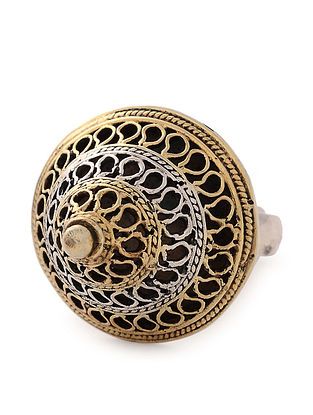 Dual Tone Tribal Silver Adjustable Ring