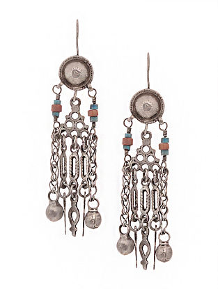 Turquoise-Coral Tribal Silver Earrings