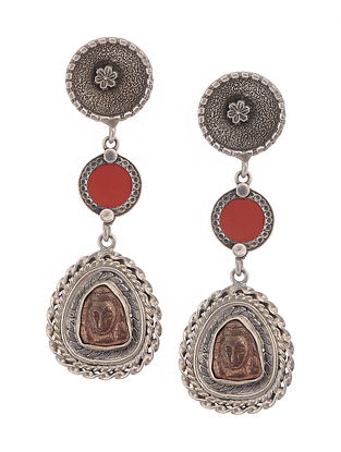 Red Glass Dual Tone Tribal Silver Earrings