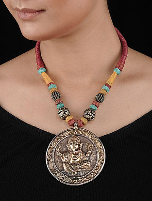 Multicolored Thread Dual Tone Tribal Silver Necklace with Lord Ganesha Motif