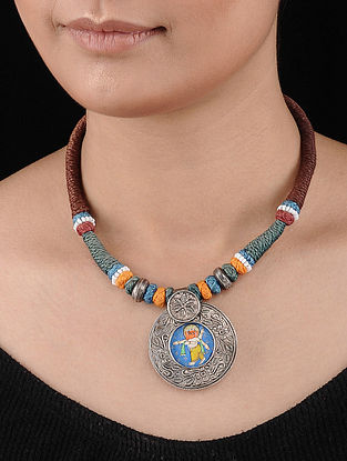 Multicolored Thread Tribal Silver Necklace with Hand-painted Lord Ganesha Motif