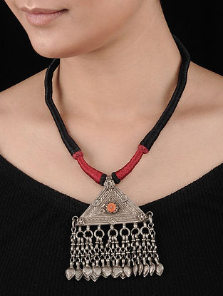 Black-Red Tribal Silver Necklace