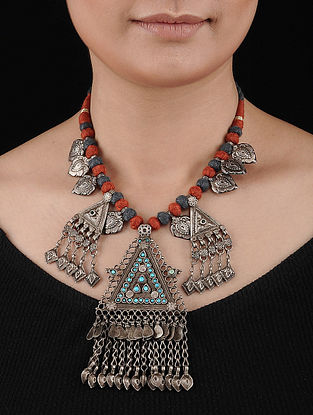 Red-Grey Thread Tribal Silver Necklace