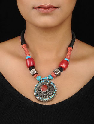 Turquoise and Coral Tribal Silver Necklace