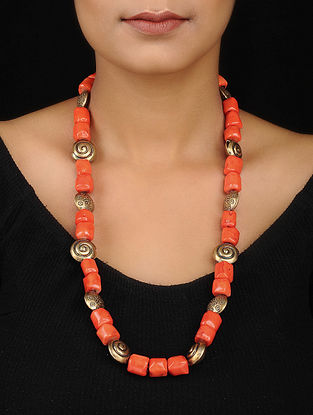 Orange Beaded Gold Tone Silver Necklace