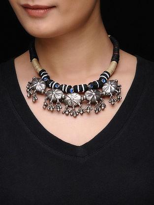 Black-Beige Thread Tribal Silver Necklace