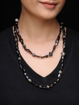 Brown Beaded Silver Necklace