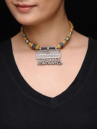 Brown Thread Necklace with Silver Pendant