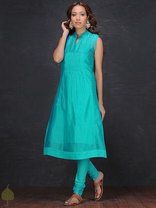 Blue Pintuck Chanderi Kurta with Slip by Jaypore (Set of 2)
