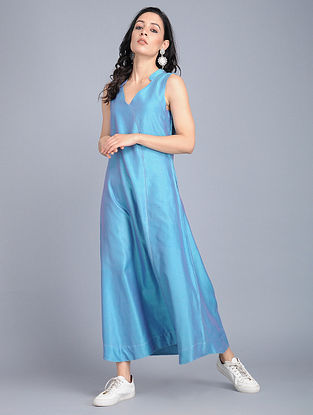 Blue Cotton-Silk Dress with Pockets