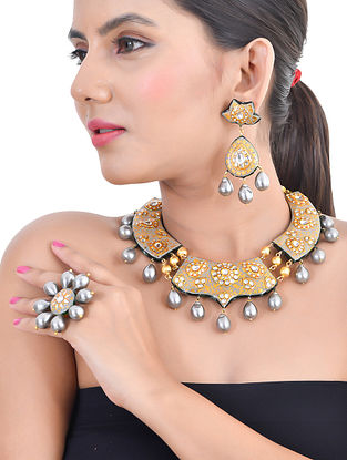 Grey Gold Tone Kundan Enameled Necklace and Earrings with Ring and Pearls