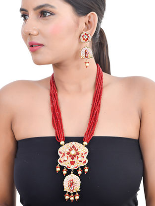 Red Pink Gold Tone Kundan Enameled Necklace and Earrings with Pearls