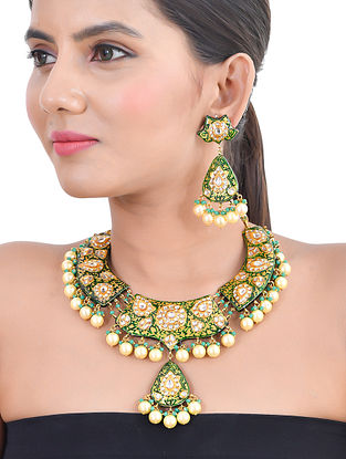 Green Gold Tone Kundan Enameled Necklace and Earrings with Pearls