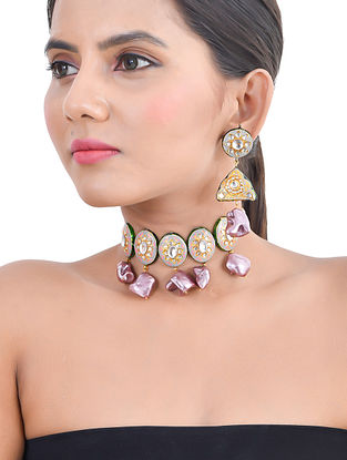 Grey Pink Gold Tone Kundan Enameled Necklace and Earrings with Pearls