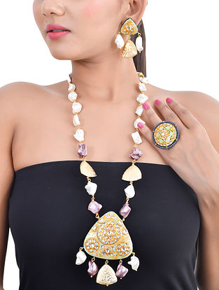 Green Purple Gold Tone Kundan Enameled Necklace and Earrings with Ring and Pearls