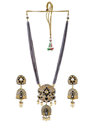 Grey Black Gold Tone Kundan Enameled Necklace and Earrings with Pearls