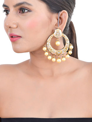 Grey Pink Gold Tone Kundan Enameled Chandbali Earrings with Ear Chains and Pearls