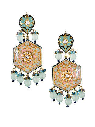 Blue Pink Gold Tone Kundan Enameled Earrings