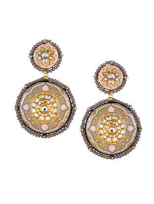 Grey Pink Gold Tone Kundan Enameled Beaded Earrings