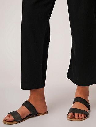 Black Tie-up Waist Handloom Cotton Pants by Jaypore