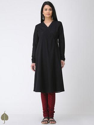 Black Cotton Slub Angrakha by Jaypore