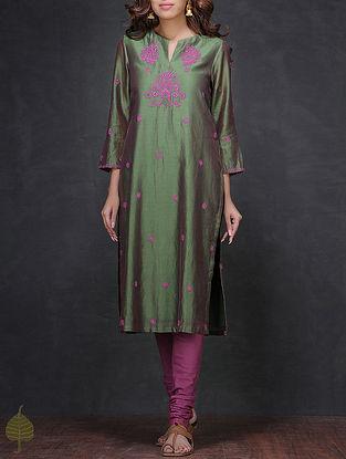 Green-Pink Chikankari Chanderi Kurta by Jaypore