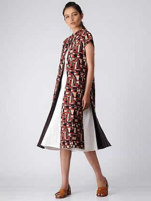 Brown-Madder Reversible Ajrakh Cotton Jacket by Jaypore