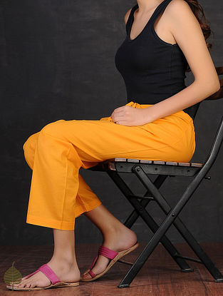 Yellow Tie-up Waist Cotton Pants by Jaypore