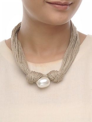 Beige Jute Pearl Necklace